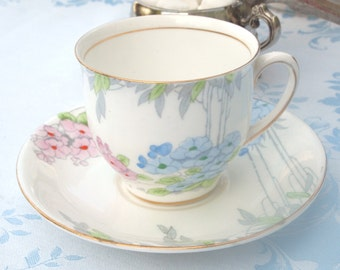 Vintage Teacup Blue and Pink Floral with Gold Trim | Royal Standard Fine Bone China England | Afternoon Tea Party Gift For Her