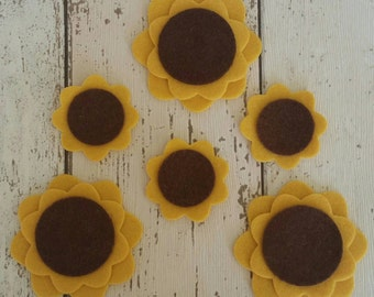 Felt Sunflowers, die cut for crafts and applique embellishment, wedding craft, card making, hen party brooches, collage