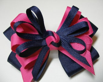 5 inch Navy Blue Hair Bow Hot Pink Boutique
