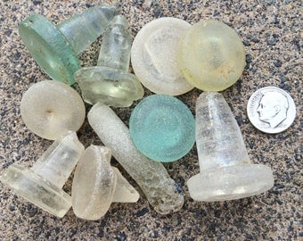 English Seaglass - Group of Beach Found Damaged Stoppers/Stems