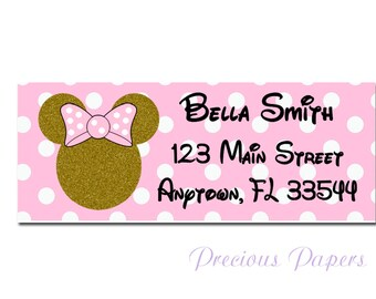 Personalized Minnie Mouse return address lables Gold and pink minnie mouse stickers