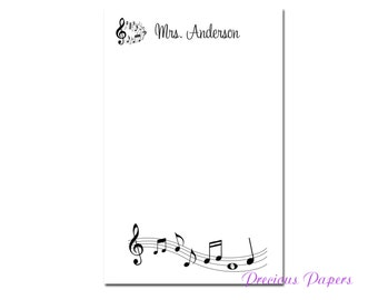 Personalized music teacher notepad with music notes  music teacher gift