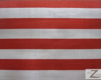 """Poly Cotton 1"""" Stripe Fabric - Red/White - Sold By The Yard"""