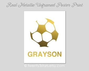 Soccer Ball Art Print, Real Metallic Ink Art Print, Gold Silver Foil Art Print, Unframed, Custom Colors, real gold foil, silver foil