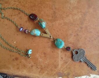 Vintage Assemblage Necklace Vintage Key Necklace Turquoise Necklace Czech Glass Necklace
