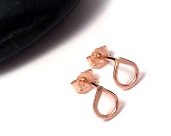 Rose Gold Teardrop Stud Earrings | Tiny Stud Earrings | Rose Goldfilled Post Earrings | Bridesmaid Earrings | Rose Gold Jewellery UK