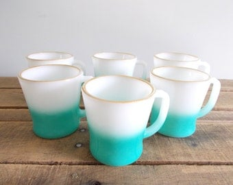 Anchor Hocking-Fire King White and Turquoise Fade Mugs with Gold Rim and D Handle - Set of Six