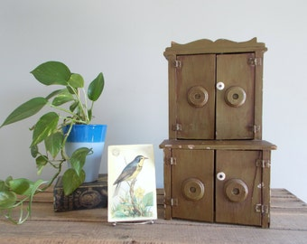 "18"" Olive Green Primitive Style Large Wood Doll Hutch/Cupboard"