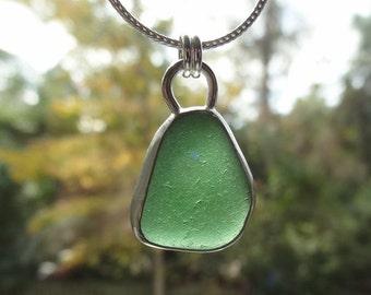 Jade Green Sea Glass Pendant - Bottle Green - Dark Green -  Natural Sea Glass, Genuine Sea Glass