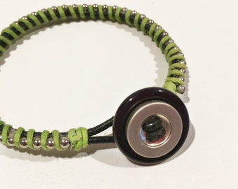 Black and Silver Button and Chartreuse Leather Bracelet