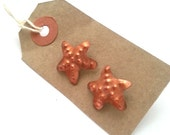 Starfish copper and sterling silver ear posts, studs.