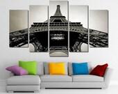"60""x36"" Framed Huge 5 Panel Art France Paris Eiffel Tower Giclee Canvas Print - Ready to Hang"