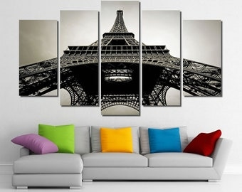 "60""x36"" Framed Huge 5 Panel Art France Paris Eiffel Tower Giclee Canvas Print - Ready to Hang"