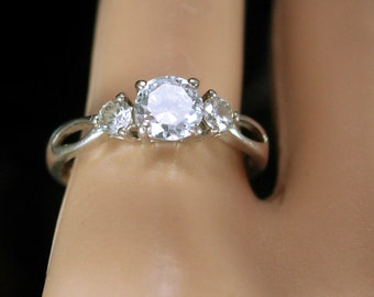 Fancy Engagement ring 3/4 CT Vintage Sterling silver CZ Diamond like band Ring Size 8