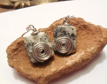 Swirl Dangle Earrings - Spotted Crystal