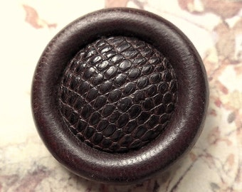 Reptile skin & leather button, vintage.  Dark brown with a convex reptile skin centre and a leather border, pad back, no rust. c1930's.