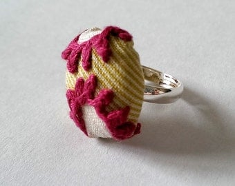 Flower Hand Stitched Ring, Purple Flower and Green Fabric Embroidered Silver Ring, Embroidered Jewellery
