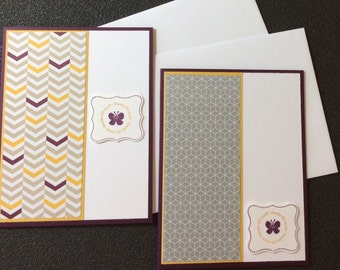Set of 2, Thank you cards, handmade, stampin up