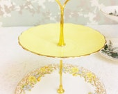 Mellow Yellow  2 Tier Mini Cake Stand with Hand Painted Flowers