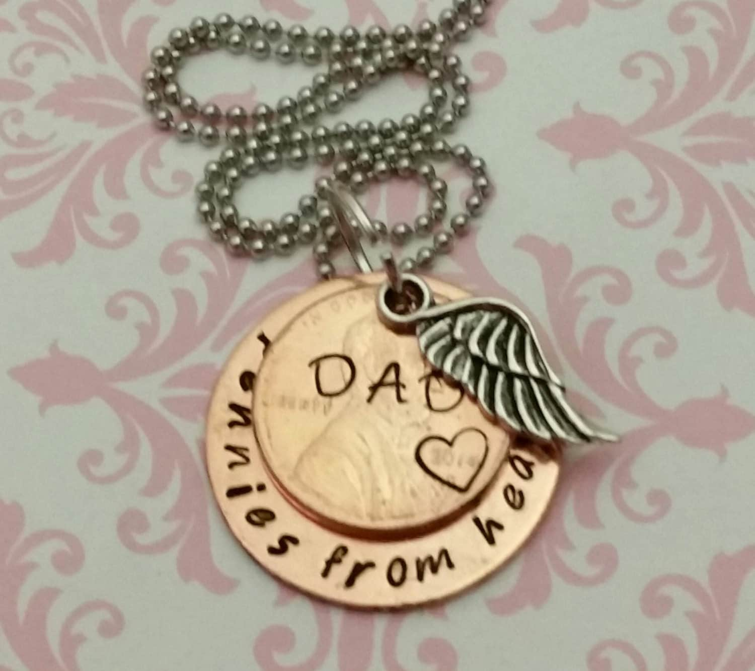 pennies from heaven necklace handsted loss of a loved