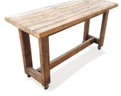 Industrial Recycled Shabby Chic Solid Timber High Bench Kitchen / Wooden Dining Table / Kitchen Island / Bar Table / Console With Wheels