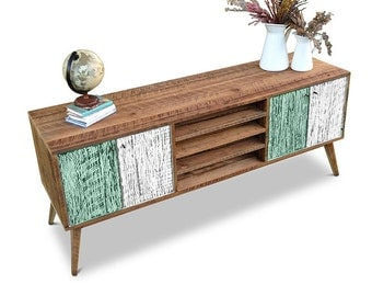 Flash Sale! Eco Recycled Solid Timber Modern Mid Century Retro Rustic Wooden TV Stand Entertainment Unit With Shelves in Teal Green & White