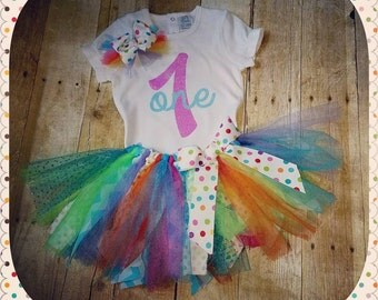 First Birthday Tutu Set with matching hairbow