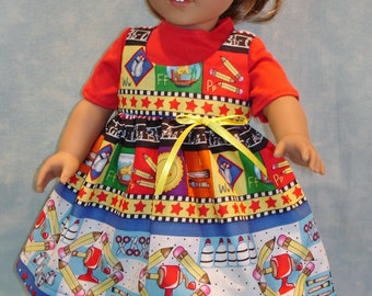 """18 Inch Doll Clothes - Back to School Jumper and T-shirt handmade by Jane Ellen to fit 18"""" dolls"""