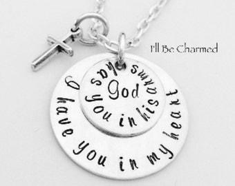 God has you in his arms ~ I have you in my heart Hand Stamped Double 2 Stacked Discs Memory Memorial Necklace Jewelry