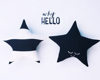 Black Sleepy Star Pillow / Cushion - Nursery and Children's Decor