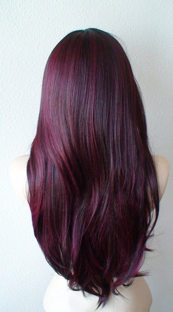 Burgundy Ombre Wig Wine Red Wig Extra Volume Long Natural
