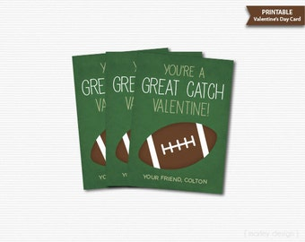 Football Valentine's Cards Classroom Valentines Kids Valentines Great Catch Card Printable Valentines School Valentines Personalized Digital