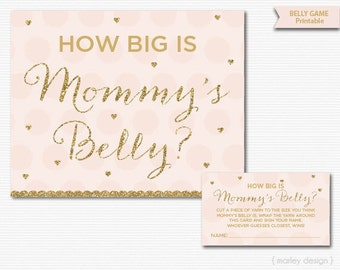 Mommy's Belly Game Printable Baby Shower Games Pink Gold Glitter Baby Shower Printables Guess Mommy's Belly Size Mommy's Waist Girl Baby