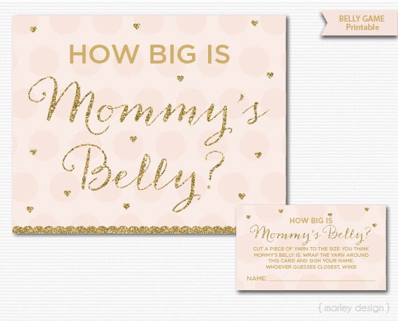 Mommys Belly Game Printable Baby Shower Games Pink Gold Glitter