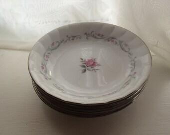 Royal Swirl Fine China Japan Pink Rose Fruit/Dessert Bowl Platinum Shabby