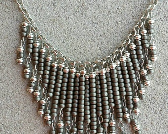 Taupe Seed Bead and Antique Silver Bead Bib Necklace