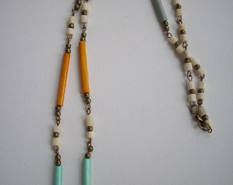 Lime Green Orange Light Turquoise Gray Ivory Bone Bead Necklace with Antique Brass Beads