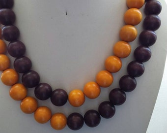 SALE Double Strand 18mm Mustard and Brown Wooden Dyed Bead Necklace with Silver Chain