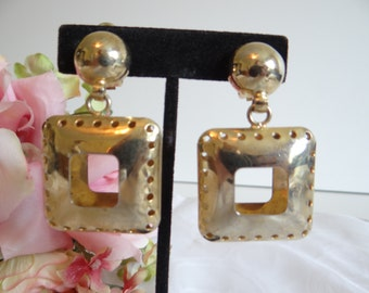 Geometric Square Gold Tone Dangling Clip Earrings with Round Detail on Top - Gold Tone Earrings - Retro Modern