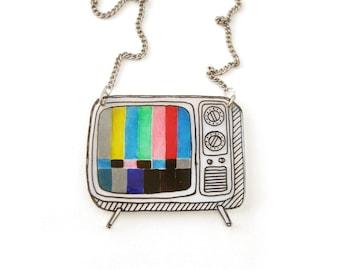 TV Necklace (Transparency), TV Jewelry, TV Jewellery, Retro Necklace, Retro Jewelry, Retro Jewellery, Shrink Plastic