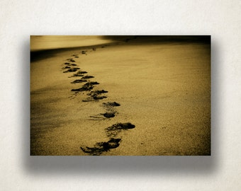 Footprints in Sand Canvas Art, Footprints Wall Art, Beach Sand Canvas Print, Artwork, Photograph, Canvas Print, Home Art, Wall Art Canvas