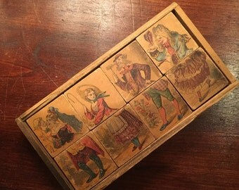 Charming Lithographed Wood Block Puzzle Circa 1860s HALF of its original price now