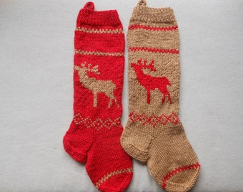 Knit Christmas Stocking Hand Knitted Personalized with Reindeer, Christmas Gift Christmas Decoration Red and Gold