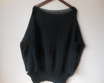 Oversized Plus Size Hand Knit Sweater Tunic Loose Knit Women's Sweater Black