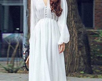 "Maxi dress, white chiffon dress. ""A walk in to park"" maxi dress.high waisted dress"
