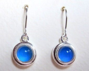 Mood Earrings - Sterling Silver 925 - 6 mm Deluxe Mood Stone - color changing