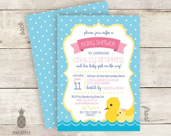 Rubber Duck Baby Shower Invitations - Colors Used: Light Blue, Pink, Royal Blue, Yellow & Light Yellow