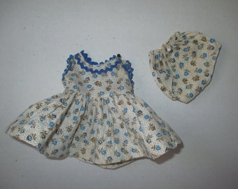Blue Print Sleeveless Dress w Rick Rack Matching Panties for 10-12 inch Girl Doll