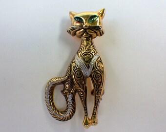 Vintage Cat Brooch Damascene signed Spain