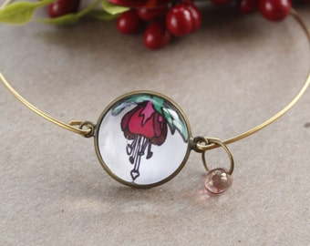 Valentine gif Pretty bracelet- glass cabochon dragonfly and fuscia flower design